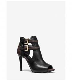 MICHAEL Michael Kors Blaze Leather and Logo Open-Toe Bootie