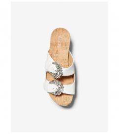 MICHAEL Michael Kors Frances Embellished Leather and Cork Wedge Sandal