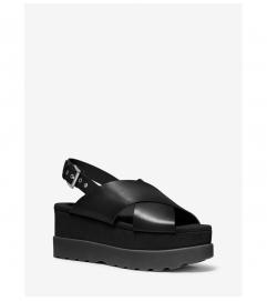 MICHAEL Michael Kors Becker Burnished Leather Flatform Sandal