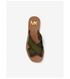 MICHAEL Michael Kors Glenda Burnished Leather Slide Sandal