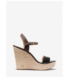 MICHAEL Michael Kors Jill Logo and Leather Wedge