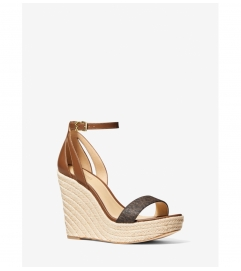 MICHAEL Michael Kors Kimberly Logo and Leather Wedge Sandal