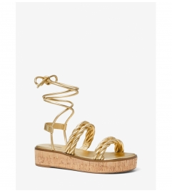 MICHAEL Michael Kors Marina Metallic Woven Lace-Up Sandal