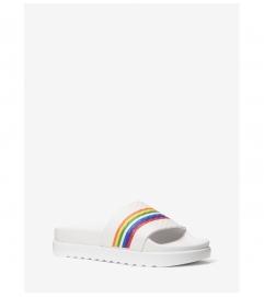 MICHAEL Michael Kors Tyra Rainbow Stripe Embossed Leather Slide Sandal