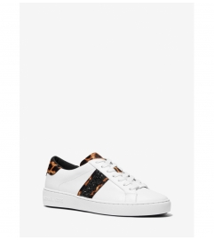 MICHAEL Michael Kors Irving Leopard Print Calf Hair and Leather Stripe Sneaker