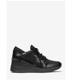 MICHAEL Michael Kors Liv Scuba and Lizard Embossed Leather Trainer
