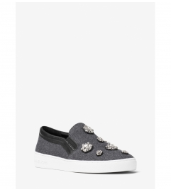 MICHAEL Michael Kors Keaton Crystal-Encrusted Flannel Slip-On Sneaker