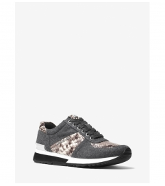 MICHAEL Michael Kors Allie Flannel and Embossed-Leather Sneaker