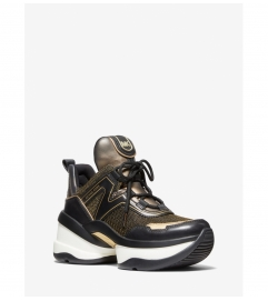 MICHAEL Michael Kors Olympia Glitter Chain-Mesh and Metallic Leather Trainer