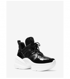 MICHAEL Michael Kors Olympia Leather Mixed-Media Trainer