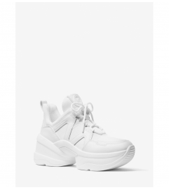 MICHAEL Michael Kors Olympia Canvas and Leather Trainer