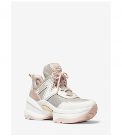 MICHAEL Michael Kors Olympia Glitter Chain-Mesh and Leather Trainer