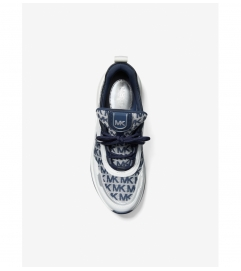 MICHAEL Michael Kors Olympia Logo Jacquard and Leather Trainer