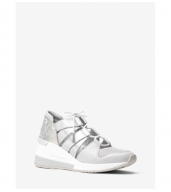 MICHAEL Michael Kors Beckett Lizard-Embossed Leather and Metallic Sneaker