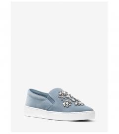 MICHAEL Michael Kors Keaton Embellished Suede Slip-On Sneaker