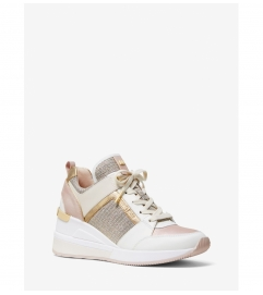 MICHAEL Michael Kors Georgie Leather and Chain-Mesh Trainer