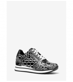 MICHAEL Michael Kors Billie Newsprint Logo Leather Trainer