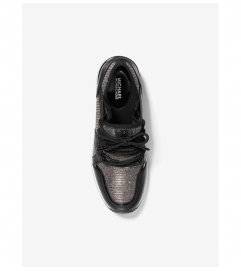 MICHAEL Michael Kors Liv Extreme Leather and Glitter Chain-Mesh Trainer