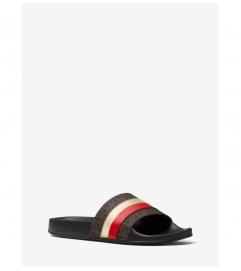 MICHAEL Michael Kors Brandy Metallic Striped Logo Slide Sandal