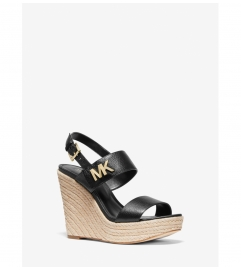 MICHAEL Michael Kors Deanna Leather and Jute Wedge