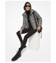 MICHAEL Michael Kors Quilted Houndstooth Nylon Puffer Jacket