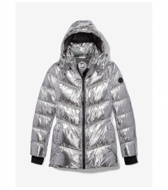MICHAEL Michael Kors Metallic Quilted Chevron Packable Puffer Jacket