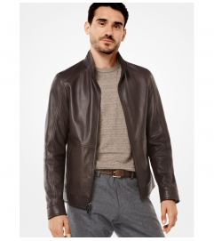 Michael Kors Mens Leather Racing Jacket