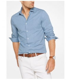 Michael Kors Mens Slim-Fit Denim Shirt