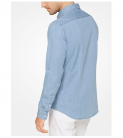 Michael Kors Mens Slim-Fit Denim Shirt