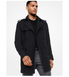 Michael Kors Mens Houndstooth Wool-Blend Trench Coat