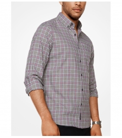 Michael Kors Mens Slim-Fit Check Cotton Shirt