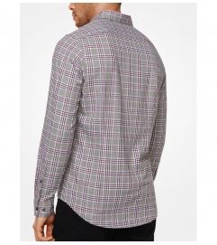Michael Kors Mens Slim-Fit Check Cotton Shirt