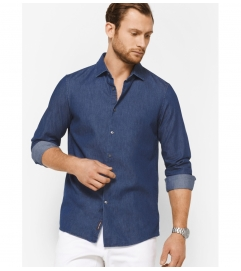 Michael Kors Mens Slim-Fit Chambray Cotton Shirt