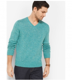 Michael Kors Mens Linen and Cotton V-Neck Pullover