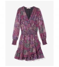 MICHAEL Michael Kors Patchwork Georgette Ruffled Wrap Dress