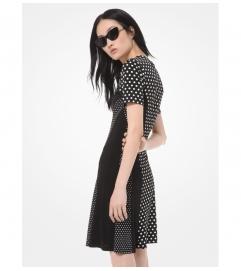 MICHAEL Michael Kors Mixed Polka Dot Matte-Jersey Dress