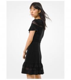 MICHAEL Michael Kors Crepe Jersey and Mesh Ruffled Dress