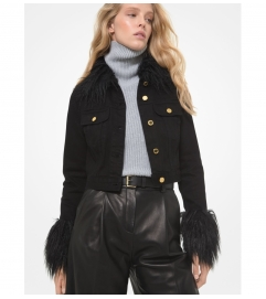 MICHAEL Michael Kors Faux Fur Trim Cropped Denim Jacket