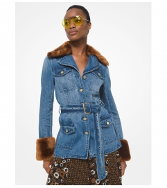 MICHAEL Michael Kors Faux Fur Trim Belted Denim Jacket
