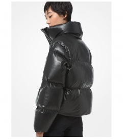 MICHAEL Michael Kors Quilted Faux Leather Puffer Jacket