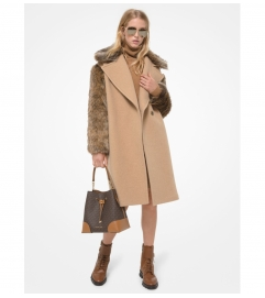 MICHAEL Michael Kors Faux Fur Trim Felted Wool Cocoon Coat