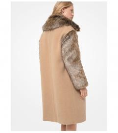 MICHAEL Michael Kors Faux Fur Trim Felted Wool Cocoon Coat