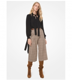 MICHAEL Michael Kors Tattersall Pleated Stretch Wool Culottes