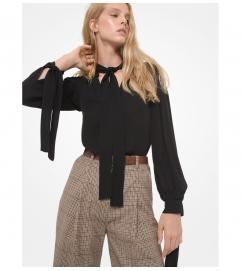 MICHAEL Michael Kors Silk Georgette Tie-Sleeve Blouse