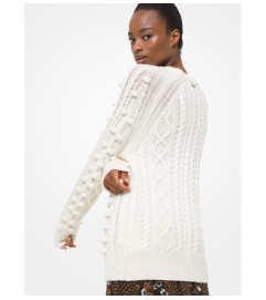 MICHAEL Michael Kors Embellished Cable Stretch Wool Sweater