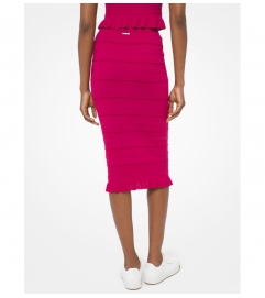 MICHAEL Michael Kors Ruffle Trim Textured Stretch Viscose Skirt
