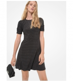 MICHAEL Michael Kors Metallic Polka Dot Matte Jersey Ruched-Sleeve Dress