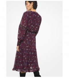 MICHAEL Michael Kors Paisley Georgette and Lace Ruffled Dress