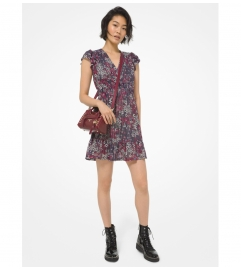 MICHAEL Michael Kors Metallic Printed Nylon Ruffled Dress