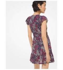 MICHAEL Michael Kors Metallic Printed Nylon Ruffled Dress